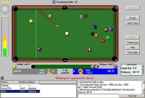 Play Pool 8-ball online, free and money pool games